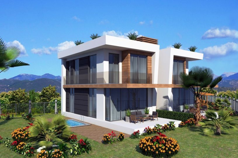 Modern villas with pool and nice view in Alanya title=
